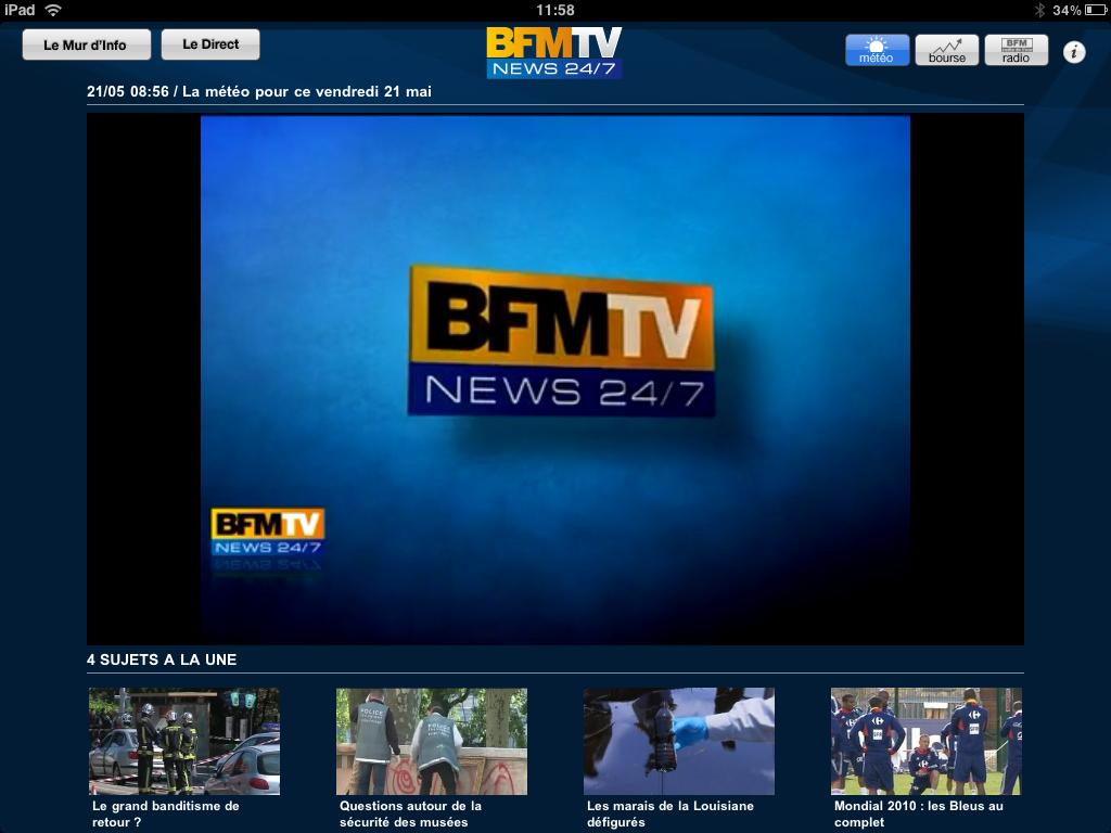 Application BFM TV pour iPad en images (video) - iPad et iPad 2 en ...